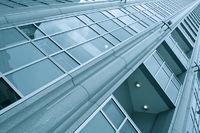 modern glass geometric side of business center