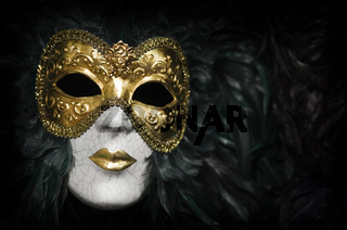 Gold traditional venetian carnival mask. Venice