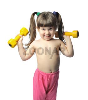 little girl with dumbbells