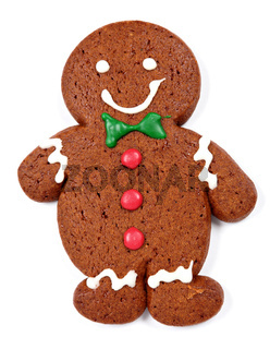 Gingerbread man cookie over white background