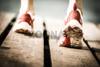 Feet of jogging person
