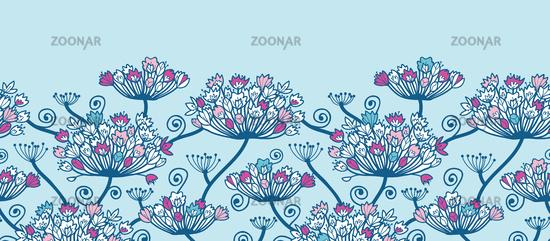 Foto Spring Flowers Horizontal Border Seamless Pattern Background