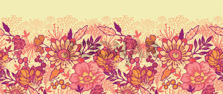 Fall flowers horizontal seamless pattern background border