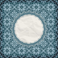 vector retro lacy napkin on seamless blue pattern