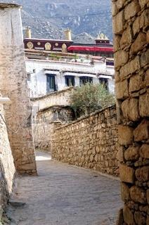 Sicht auf das Kloster Drepung Lhasa Tibet China