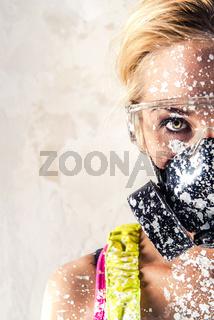 Female wearing a respirator