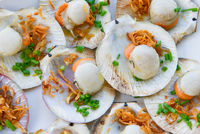 grilled scallops, shallow focus