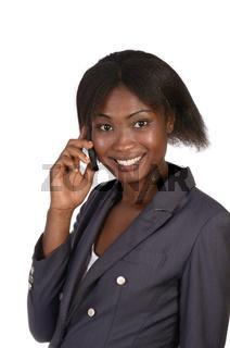 Afrikanische Geschäftsfrau telefoniert