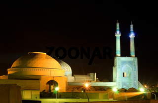 Mosque in night lights, Yazd, Iran