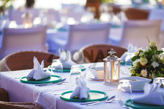 Inside the luxury outdoor restaurant. Shallow depth of field.