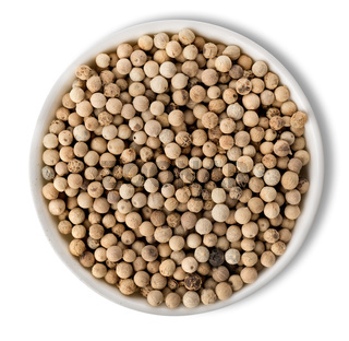 White pepper in plate isolated