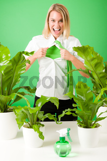 Green business superhero woman crazy plants