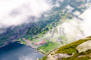 View of Lysefjord and Lysebotn from mountain