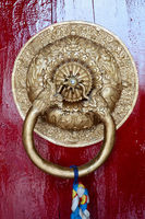 Detail of door in Buddhist temple.