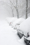 Cars buried in snow in Manhattan, New York City