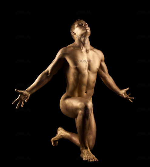 Athletic Naked Man Show Perfect Body