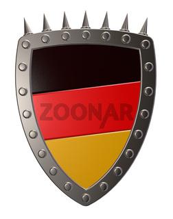 metallschild mit den deutschen farben - 3d illustration