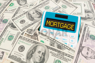 Mortgage word on calulator with American notes