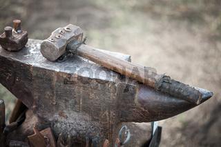 hammer on blacksmith anvil