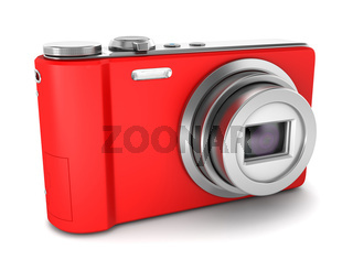 red point and shoot photo camera isolated on white background