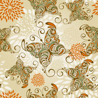 vector seamless pattern with   hand drawn butterflies and abstract flowers