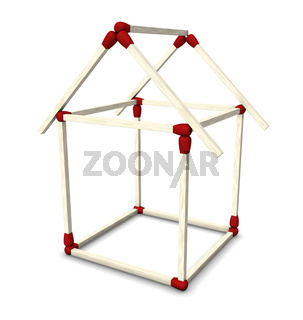 Traumhaus Konstruktion aus Streichhölzern 1