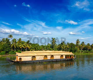 Houseboat on Kerala backwaters. Kerala