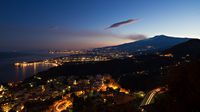 Panorama of Giardini-Naxos and Etna at twilight