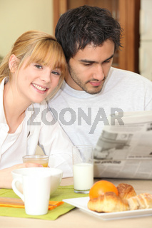 a couple having breakfast