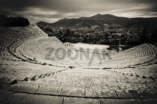 ruins of epidaurus theater, peloponnese, greece