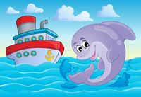 Image with dolphin theme 8 - picture illustration.