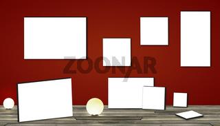 Zimmer mit leeren Bilderrahmen