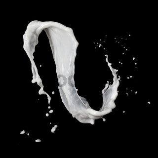 milk splash isolated on black background