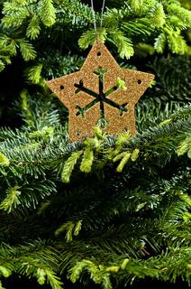 Goldene Weihnachtsbaumdekoration