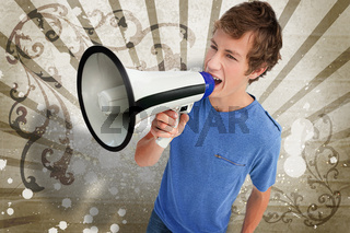 Teenager shouting through a megaphone