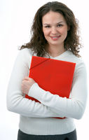 beauty woman with folder