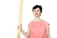 Woman with timber batten