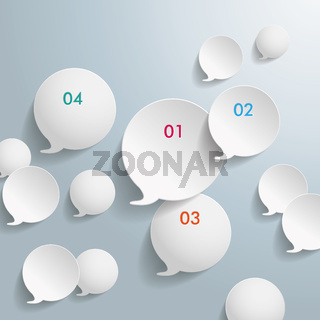 White Speech Bubbles With Numbers