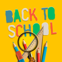 Welcome back to school on yellow background