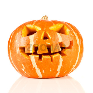 halloween, old jack-o-lantern on white