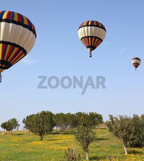 Three large bright balloons