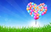 Heart Shaped Balloons Flying