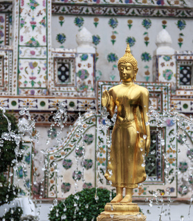 Golden Buddha Image in Fountain, Thailand