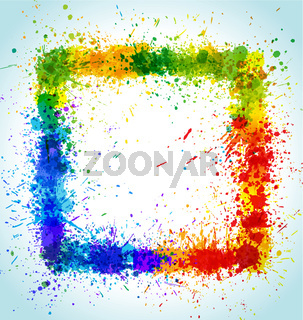 Color paint splashes square background