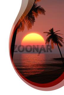 Einladungskarte mit Wellen - Hot Sunset