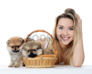 The beautiful girl with a puppy spitz