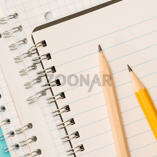 School accessories sharp pencils laying on notepad
