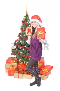happy teenage girl with gift
