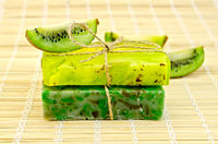 Soap homemade with twine and kiwi