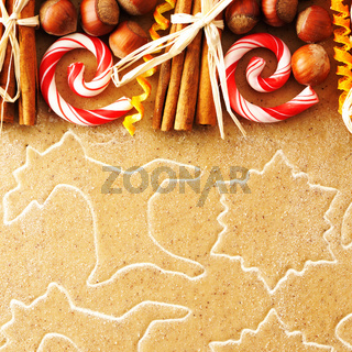Christmas spices over gingerbread dough